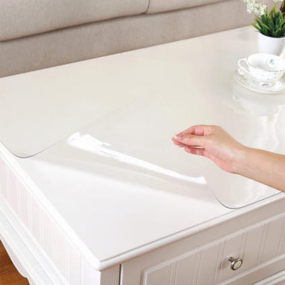 2018 1mm thick transparent table cloth kitchen table cover waterproof oil cloth soft glass tablecloth ship by roll home textile pocket
