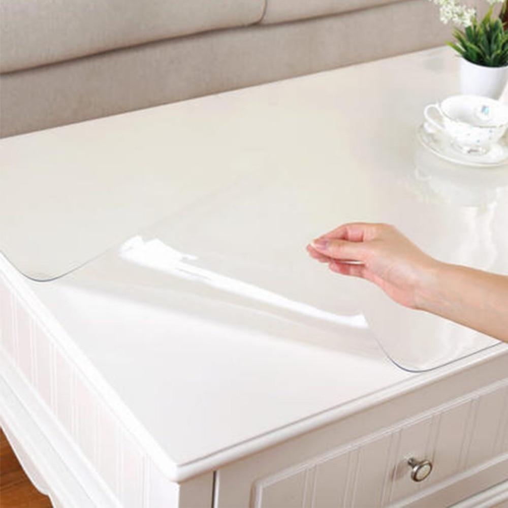 2018 1mm di spessore trasparente panno di tabella di vetro morbido panno di tabella di copertura da cucina olio impermeabile tovaglia nave da rotolo casa tessile