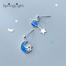 SpringLight Blue Planet Moon Earring Design Real 925 Sterling Silver Fine Jewelry Cute Star Drop Earrings for Women Gift 2019