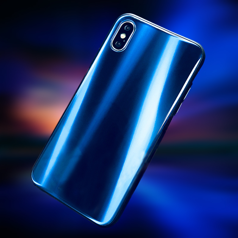 Luxury Cool Laser Aurora Glossy Plating Cases For iPhone X Case Tempered Glass Phone Cover for iPhone 8 7 6 6S Plus Coque