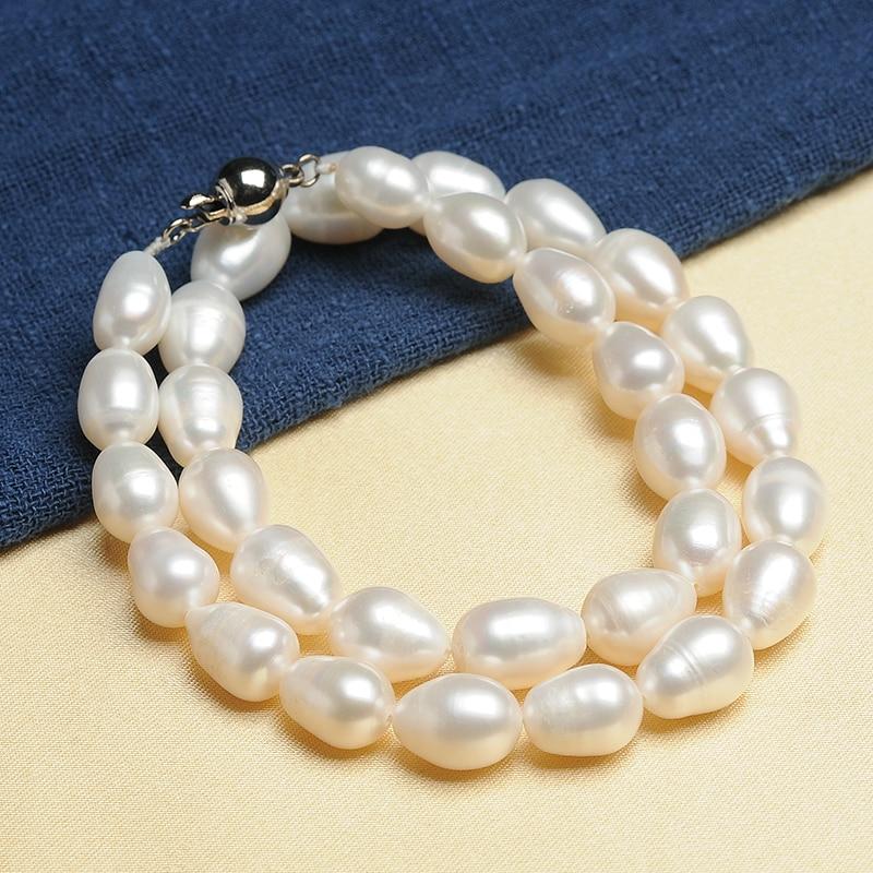 Nouveauté couleur blanche naturelle perles de riz 10mm perle collier chaîne maman cadeau