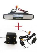 Беспроводной универсальный автомобиль камера заднего вида с функция ночного видения камеры + 4.3 дюймов зеркало заднего вида монитор