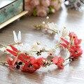 2 Цветов Ручной Работы Dragonfly Тиара Корона аксессуары для Волос Сладкие Цветы Гарланд Свадебные Аксессуары Для Волос