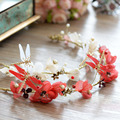 2 Colors Handmade Dragonfly Tiara Crown Hair accessories Sweet Flowers Garland Wedding Hair Accessories