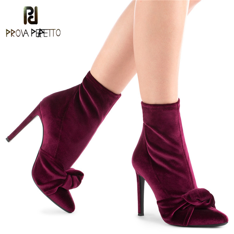 Prova Perfetto Bowknot Velvet Sock Boots Mid-calf Stretch Sock Boots For Women High Covered Stiletto Heel Tight High Boots Shoes wedge heel faux suede mid calf sock boots