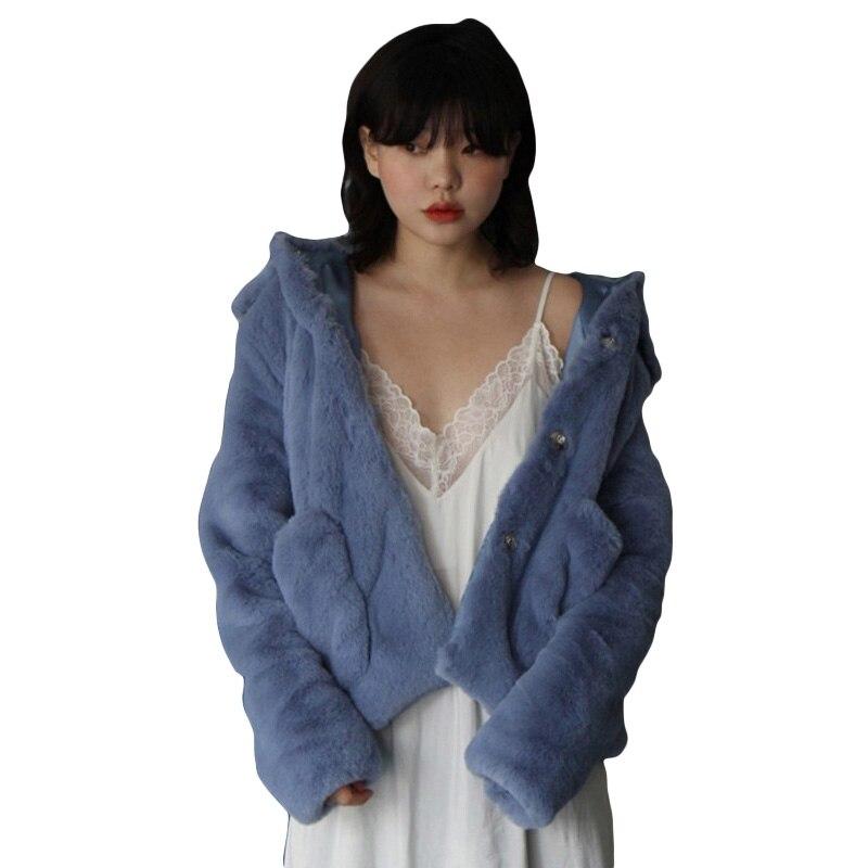 Veste Forêt Faux Manteau En De Lapin Gros Bleu Femmes Blue D hiver Rex  Fourrure Yaw1Zqa f872f65dec4