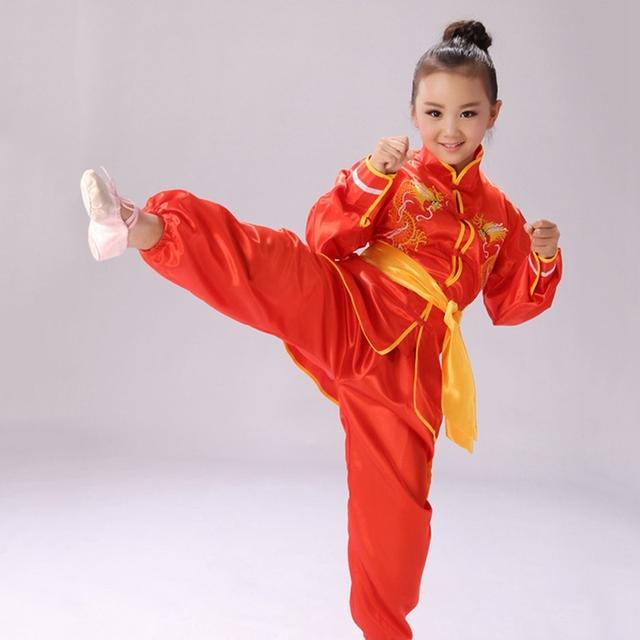 Venta caliente de Los Niños Establece Niños Uniformes de Wushu Tai Chi Ropa de Artes Marciales Kung Fu Ropa de Rendimiento Trajes Top + pantalones