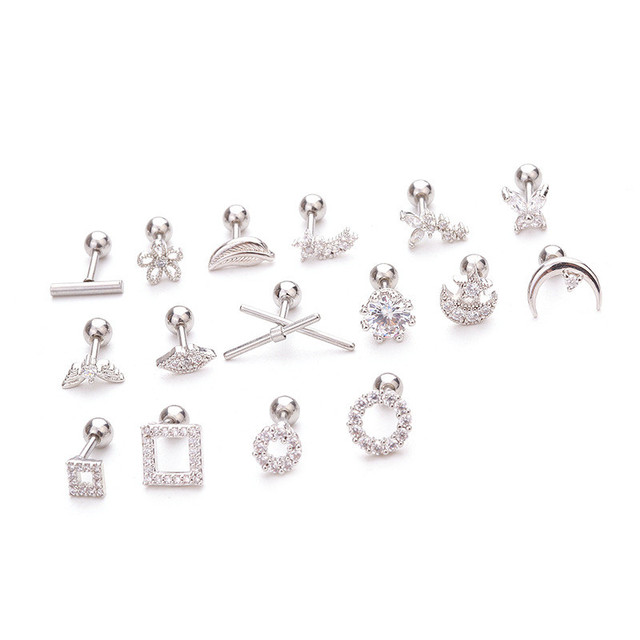 Silver Color CZ Crystal Stud Piercing Moon Star Geometric Cartilage Earring Conch Tragus Stud Helix Cartilage.jpg 640x640 - Silver Color CZ Crystal Stud Piercing Moon Star Geometric Cartilage Earring Conch Tragus Stud Helix Cartilage Piercing Jewelry