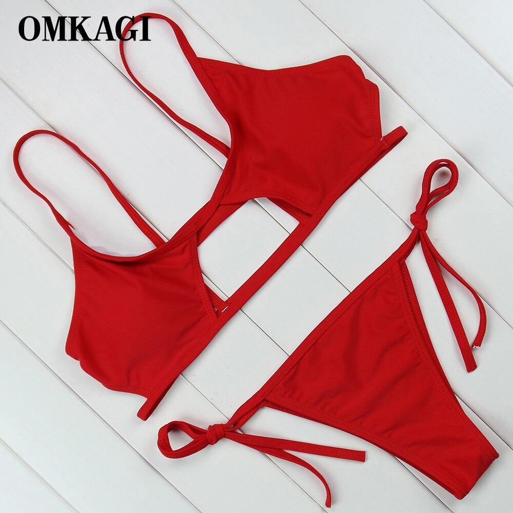 01ea9bd43 OMKAGI marca nuevo traje de baño mujeres Micro Bikinis Set Sexy Push Up  Bikini 2018 traje de baño femenino traje de baño Beachwear