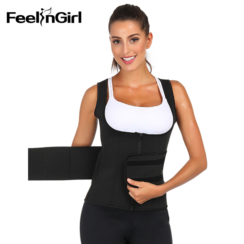 FeelinGirl Woman Neoprene Underbust Vest Shaper With Zipper Firm Tummy Control Push Up Slimming Shapewear Breathable Lingerie