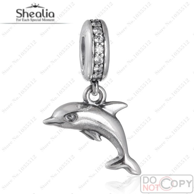 2016 Summer Playful Dolphin Charms 925 Sterling Silver Clear CZ Dangle Animal Charms Diy Necklace Shealia Jewelry DG154