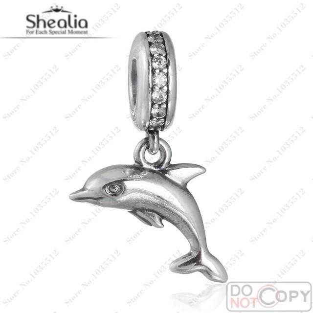 2016 Verano Juguetón Delfín Encantos 925 Clear Cz Cuelga Animal Joyería de Los Encantos Diy Collar Shealia DG154