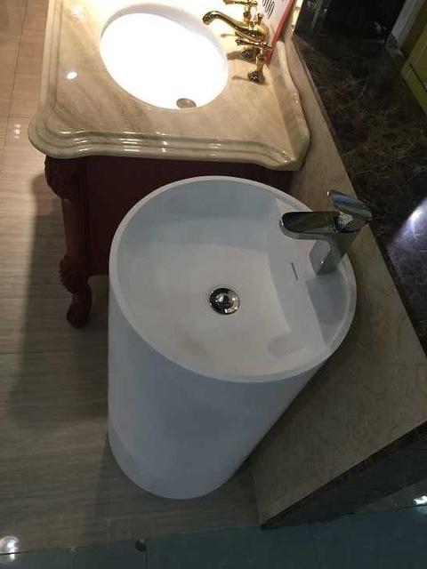 Bathroom Round Pedestal Freestanding Vessel Wash sink Solid surface stone wash basin RS38375