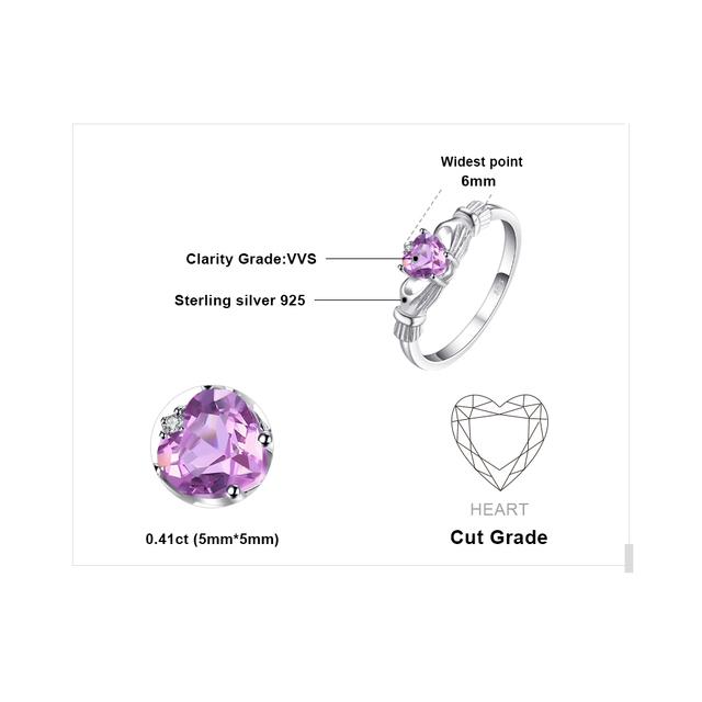 Natural Amethysts Irish Claddagh Ring