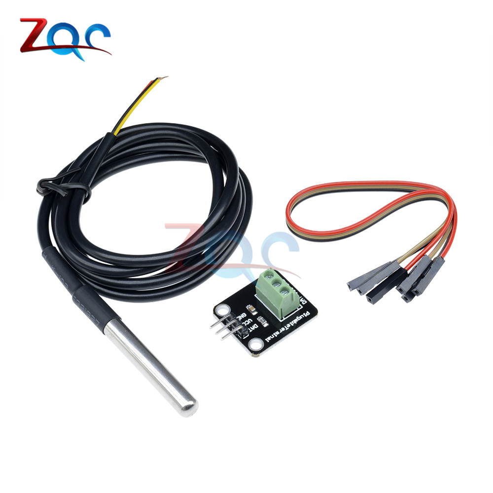 Ds18b20 Digital Waterproof Temperature Sensor Module Kit Stainless Thermistor Arduino 10k Circuit Steel Probe For Plugable Terminal Adapter 100cm Cable In Instrument Parts