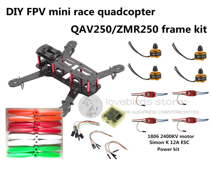 DIY FPV mini drone ZMR250 frame kit pure carbon fiber frame + 1806 2400KV motor + Simon K 12A ESC + CC3D + 5045 ABS propellers diy fpv alfa lsx5 230mm pure carbon frame kit for mini drone f3 acro dx2205 2300kv motor bl20a esc 5045 propeller