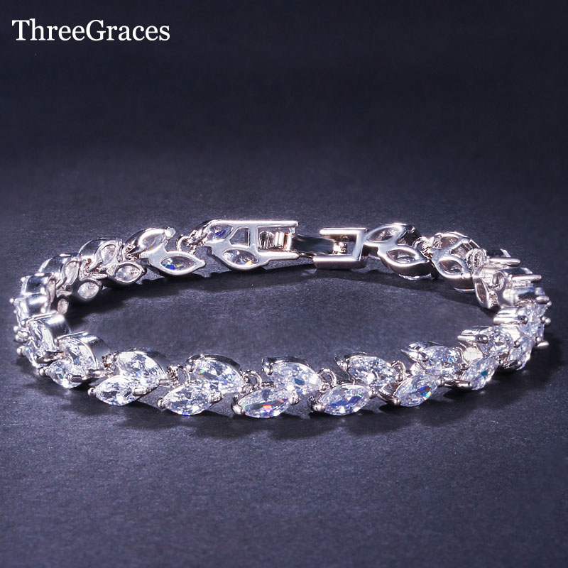 ThreeGraces CZ зергерлік бұйымдары Luxury Bridal Білезік Clear White Cubic Zircon Stone Әйелдер Білезік Bangles for Wedding BR024