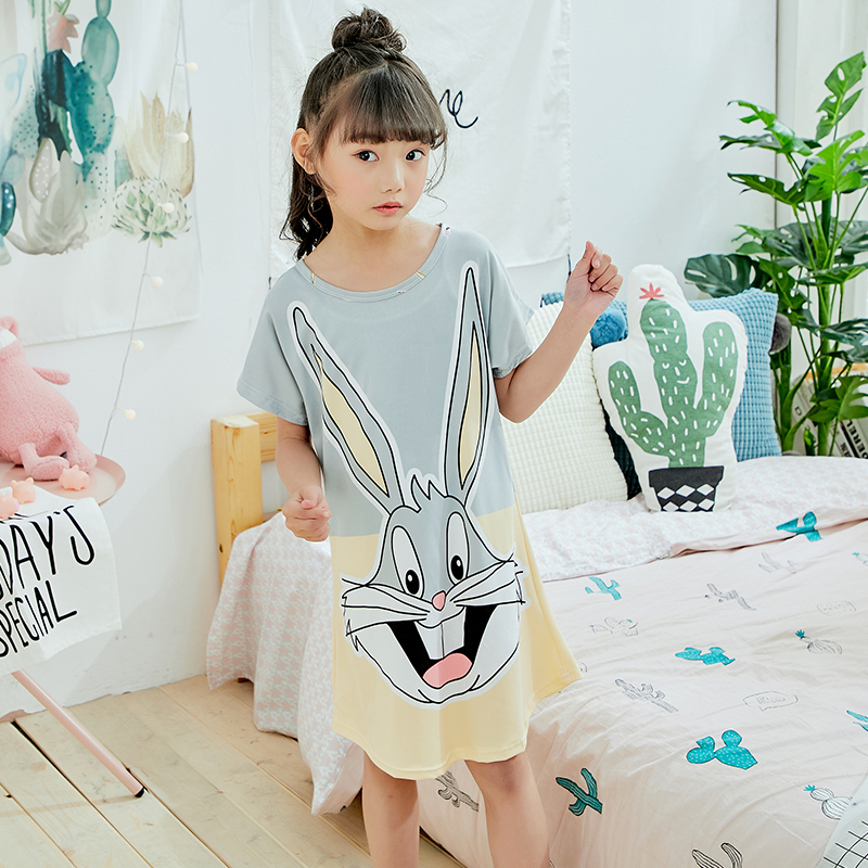 Summer 2019 Kids Dresses For Girls Cute Print Sleeping Wear Pajama For Kids Polyester Little Girls Sleepwear Girls Nightgowns