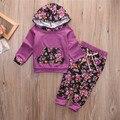Hot New 2016 Autumn girls boys Floral Print children clothing set baby clothes Long-sleeve T-shirt hoodies pant kids sport suit