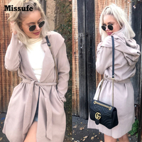 Missufe Fashion Turn Down Collar Slim Women S Autumn Jackets American Apparel 2017 Winter Female Long
