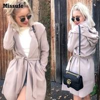 Missufe Fashion Turn Down Collar Slim Women S Autumn Jackets American Apparel 2017 Winter Female Long