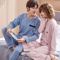 Autumn Winter 100% Cotton Men's Pyjamas Couple Pajamas Set Casual Sleepwear Mujer Pyjamas Nightwear Pijamas 3XL Home Clothing