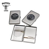 Металлический портсигар (104 мм * 70 мм) с 16 обычными размерами сигарет (85 мм * 8 мм) металлический стикер кейс для сигар коробка с 2 зажимами