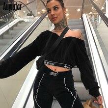 Auyiufar Fashion Long Sleeve V-Neck Short Womens Sweatshirt 2019 New Letter Print Black Streetwear Clothes Sexy Tops For Women