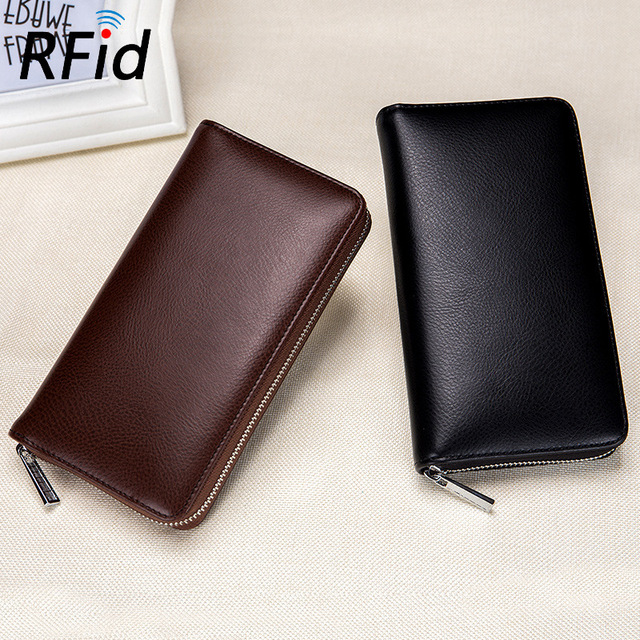 Unisex Leather Business Wallet Phone Bag