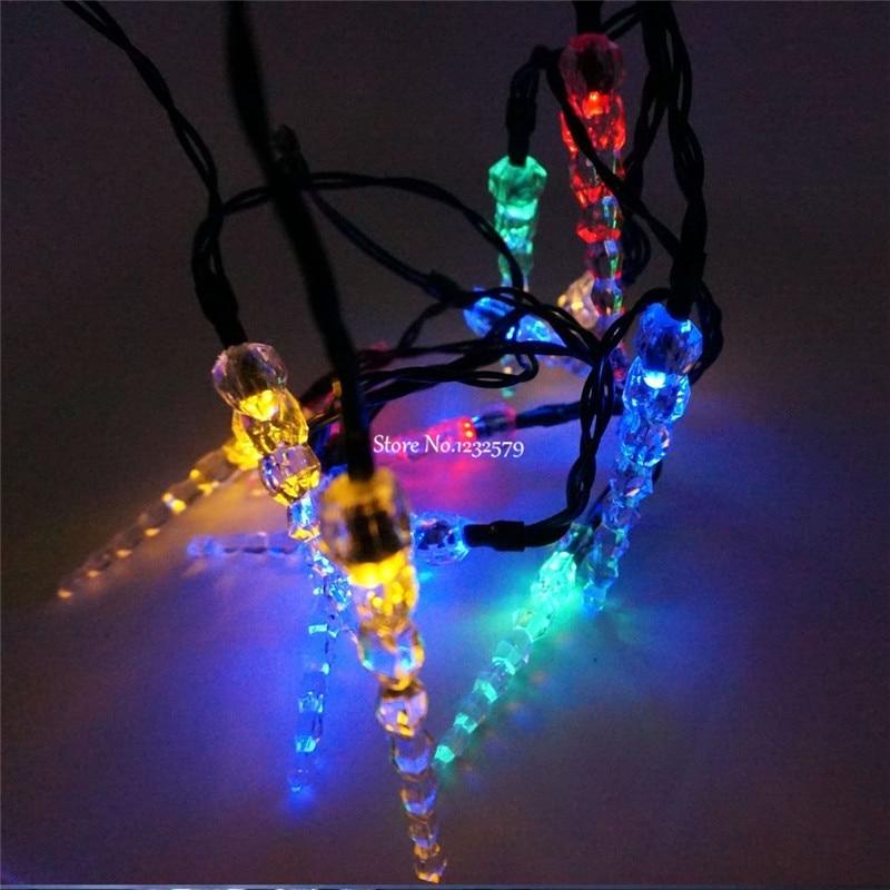 Reject Shop Christmas Solar Lights: 10M 33ft 100 LED Solar Power Icicle String Light For