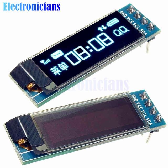 0.91 дюймов 128x32 IIC I2C синий OLED ЖК-дисплей Дисплей DIY модуль SSD1306 Драйвер IC DC 3.3 В 5 В для Arduino PIC Бесплатная доставка