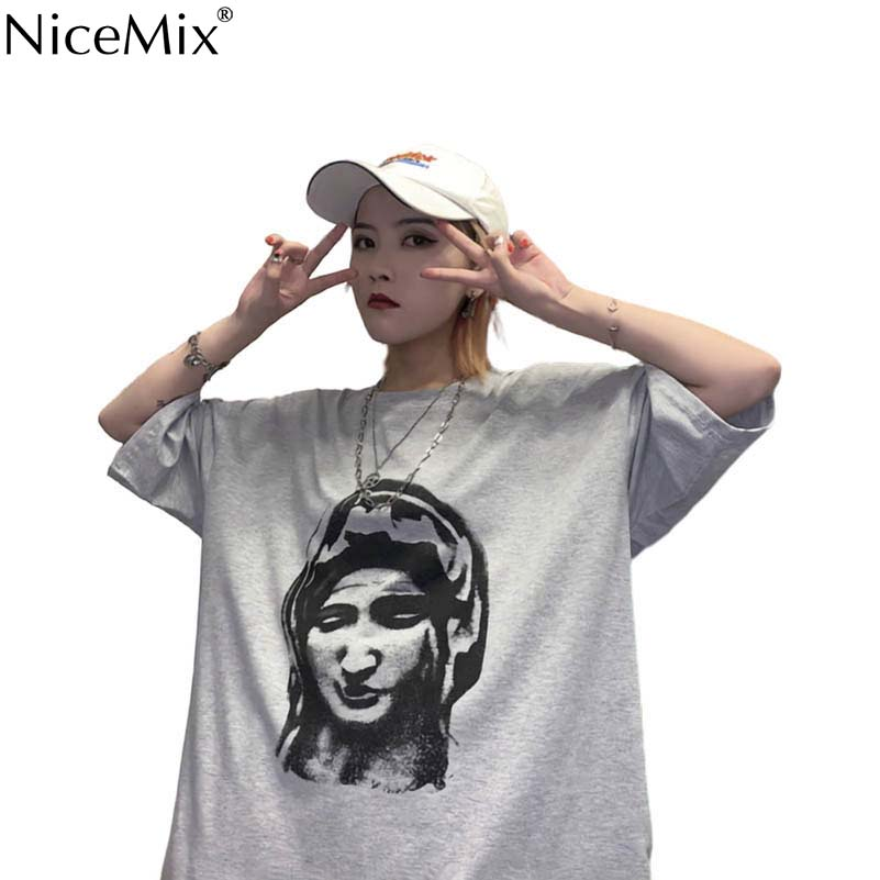 NiceMix summer Womens Clothing Korean Chic hipster Print loose tshirt Women O-neck New BF tee new printing shirt
