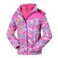 Девушки Зима Розовый Куртка Флисовой Подкладкой Открытый Катание На Лыжах С Капюшоном Пальто Ветровка