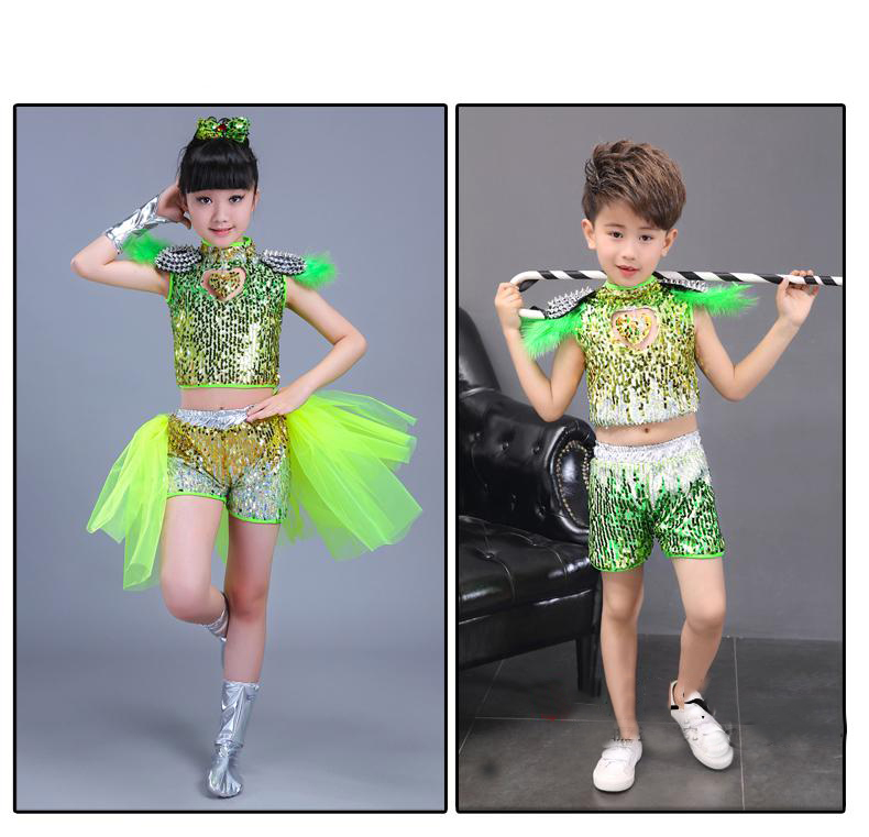 Girl Jazz Dance Clothes Childrens Sequins Hip-hop Performance Suit Girls  Drum Sequined Hip-hop Costume Suit Set Girls' Clothing