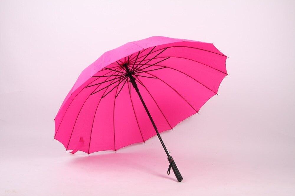 (10 Pezzi/lottp) Nuovo Lungo Manico Di Colore Solido Non Automatico Enorme Ombrelli Golf