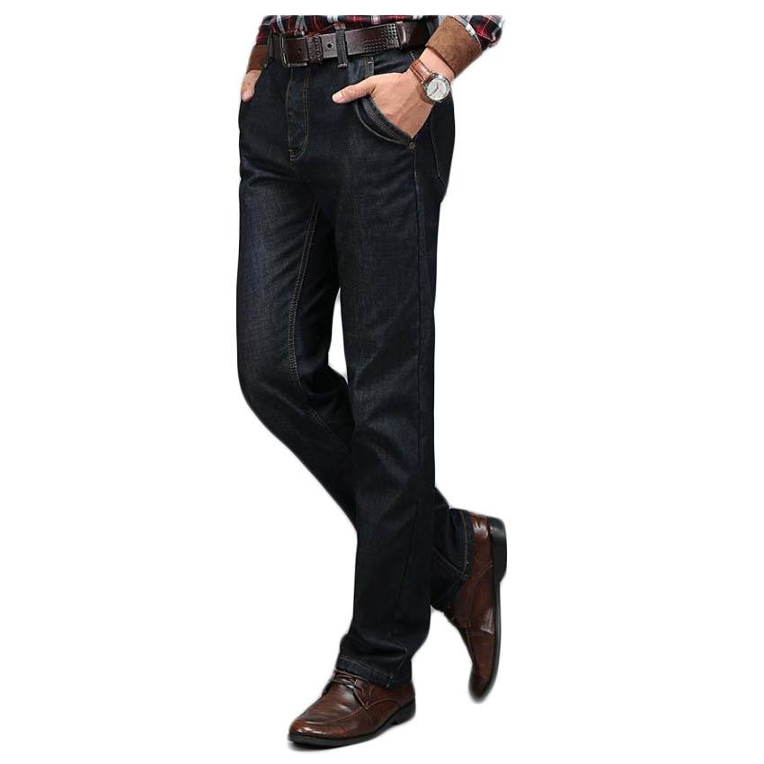 Free shipping Autumn and winter large size men s plus velvet jeans Business men s denim