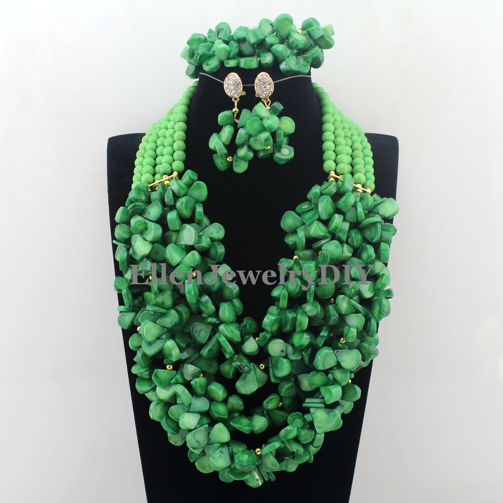 Indian Full Nigerian Wedding Beads Jewelry Set 5 Layers Green African Beads Jewelry Coral Beads Necklace Sets  W12841Indian Full Nigerian Wedding Beads Jewelry Set 5 Layers Green African Beads Jewelry Coral Beads Necklace Sets  W12841