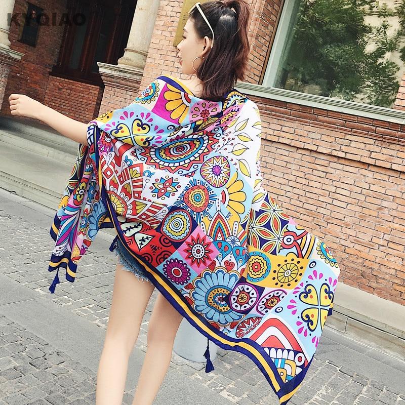 KYQIAO New Arrivals Women Winter Scarf Women Head Scarf Female Autumn Spring Spain Style Long Hippie Designe Wheel Print Scarves