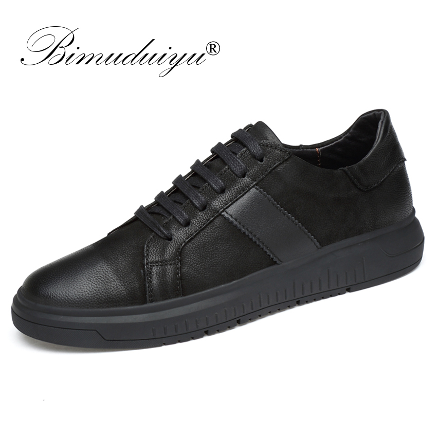 BIMUDUIYU Men Genuine Leather Casual Shoes Men Lace Up New Fashion Sneakers Rubber Sole Non slip