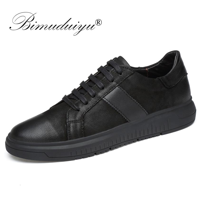 BIMUDUIYU Men Genuine Leather Casual Shoes Men Lace Up New Fashion Sneakers Rubber Sole Non slip Breathable Soft Flats Men Shoes