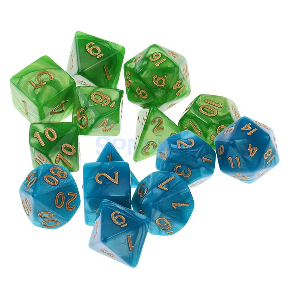 14 pieces Polyhedral Dice D20 D12 D10 D8 D6 D4 16mm for Dungeons and Dragons DND Dice MTG RPG Blue Green dungeons