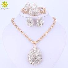 Gold Color Water Drop Pendant Jewelry Crystal Fashion Dubai Costume Big Jewelry Set Nigerian Wedding African Beads Jewelry Set