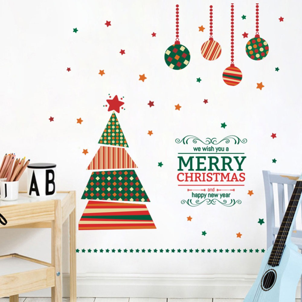 Us 8 68 Cartoon Christmas Tree Wall Stickers Living Room Kids Room Bedroom Showcase Window Glass Vinyl Decals Art Xmas New Year Murals In Wall