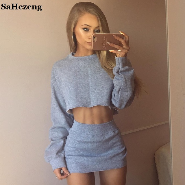 70cc46ff34 SaHezeng Sexy Skirt Sets Women 2 Pieces Outfits 2017 Causal Short Grey  Hoodies Long Sleeve Female White Hoodies Suits A058-5
