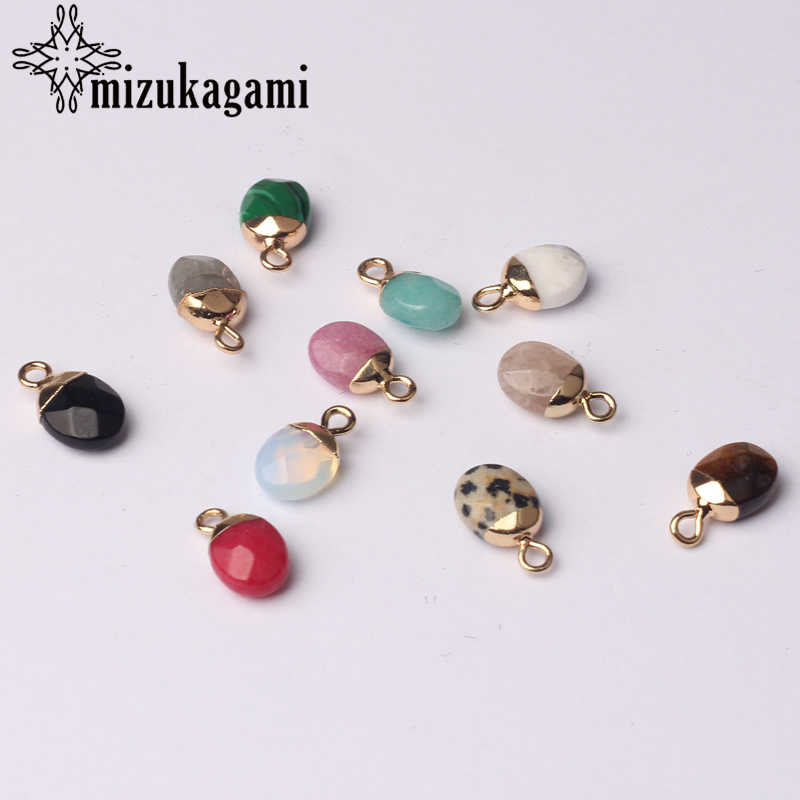 10*8mm 2pcs/lot Natural Stone Charms Pendant Copper Mini Cute Oval Natural Color Stone Charms DIY Jewelry Accessories