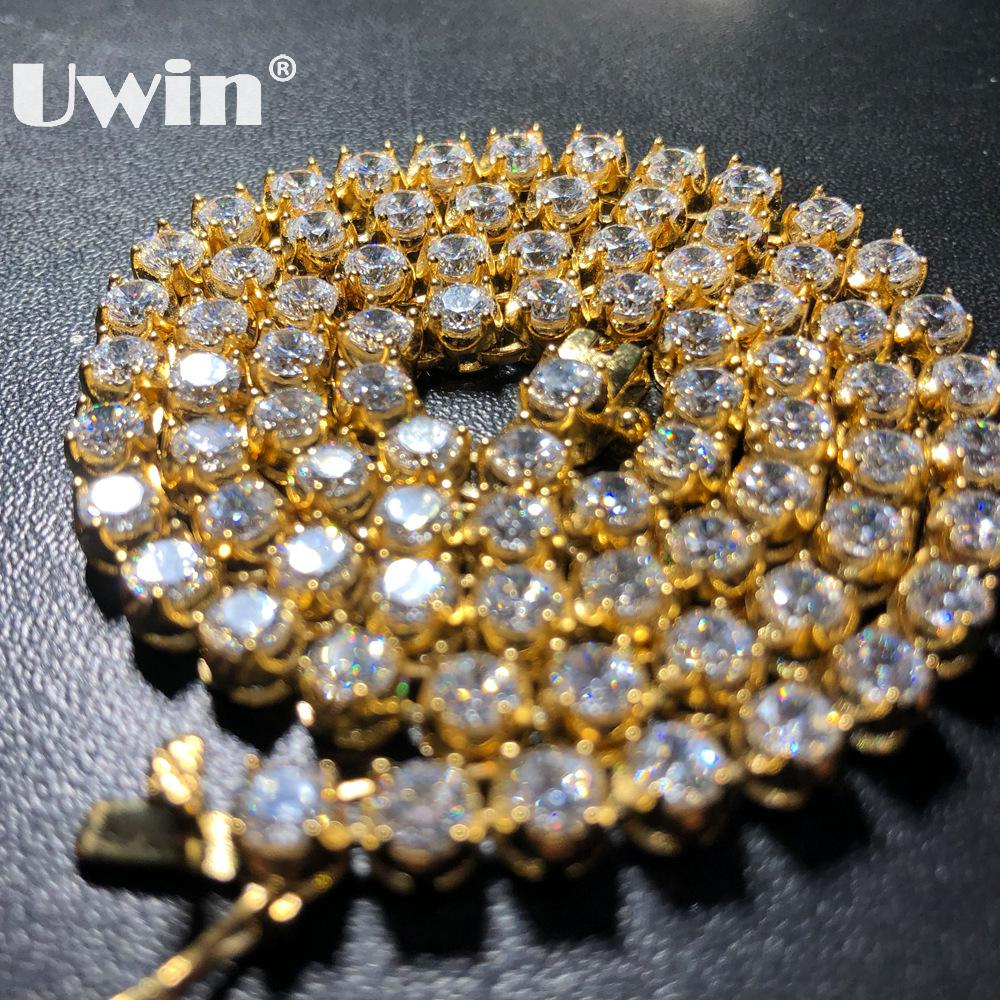 Uwin Stainless Steel PVD Plating AAA CZ Tennis Chains Necklace Iced Out Round 4/6mm Cubic Zirconia Single Clasp Fashion JewelryUwin Stainless Steel PVD Plating AAA CZ Tennis Chains Necklace Iced Out Round 4/6mm Cubic Zirconia Single Clasp Fashion Jewelry