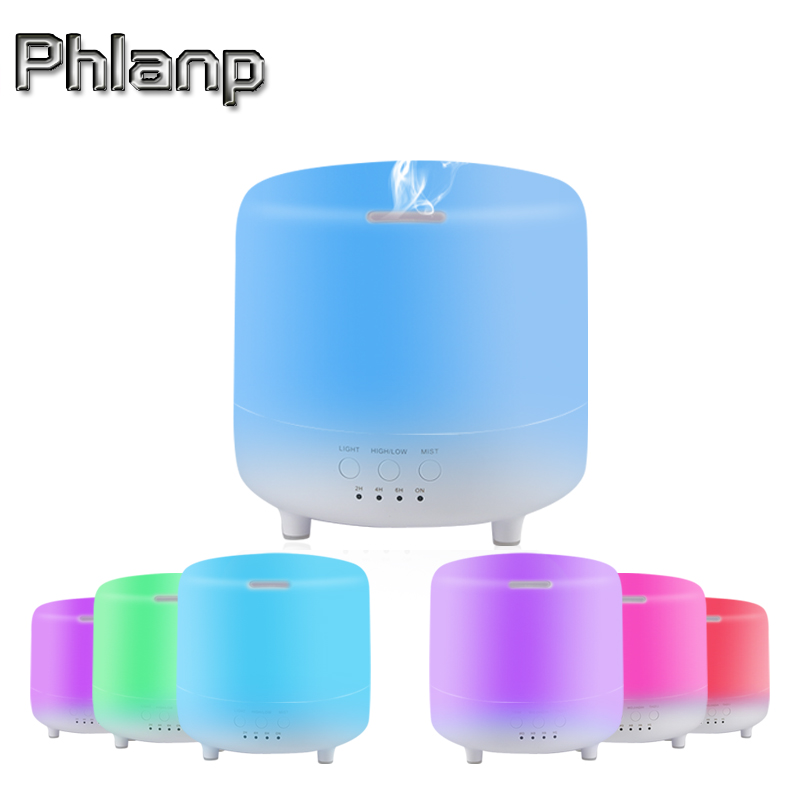 Phlanp 500ML Essential Oil Aroma Diffuser 2 Levels Adjustable Air Mist Maker Ultrasonic Humidifier with 7 Colors LED Night Light crdc air humidifier ultrasonic 100ml aroma diffuser glass essential oil diffuser mist maker with 7 colors changing led light