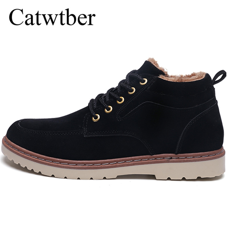 Catwtber 2018 New Fashion Hot Sale Natural Wool Men Winter Shoes Warmest Leather Handmade Plush Fur Warm Men Winter Snow Boots elevator shoes taller 2 56 inch winter genuine leather men boots fashion warm wool ankle boots men snow boots shoes hot sale
