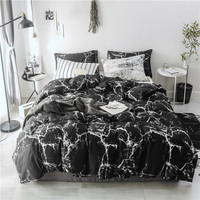 Bonenjoy Black and White Bedding Set 100%Cotton Bedding Queen Size Quartz Printed Quilt Cover King Marble Cotton Double Bed Sets