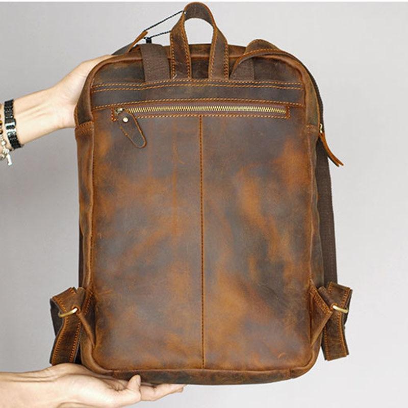 Высококачественная прочная мужская сумка на плечо из натуральной кожи Horse Oli, водонепроницаемый рюкзак для путешествий, кожаная сумка кремо... - 4